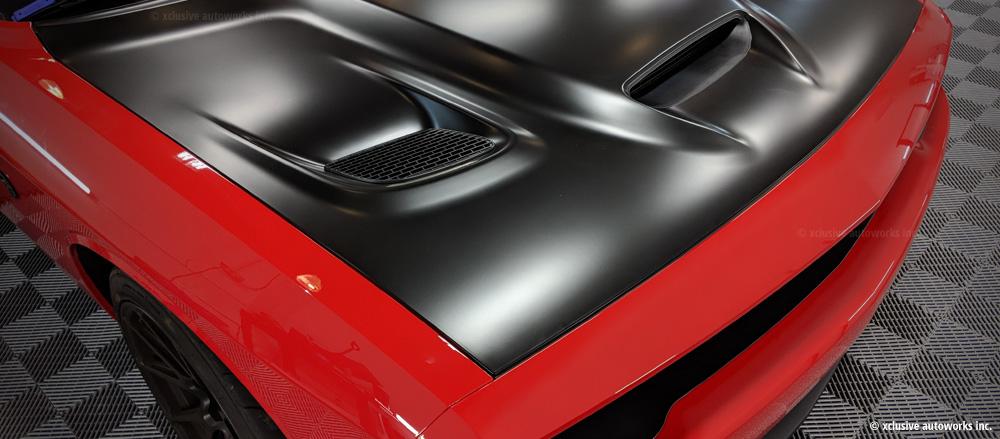 Black vinyl hood wrap Xclusive Autoworks