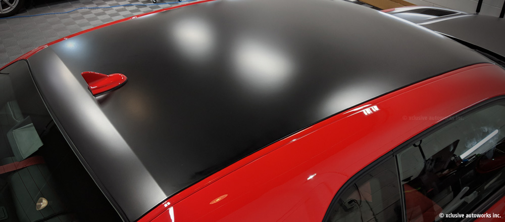 Hellcat vinyl wrap satin black roof