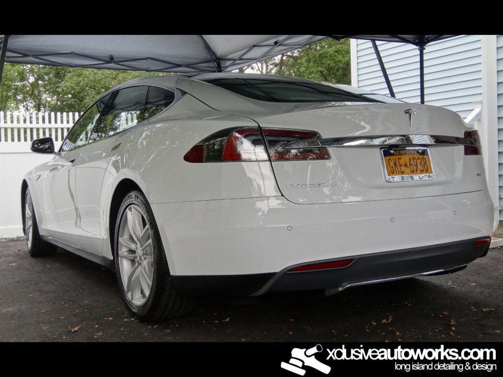 After detailing white tesla